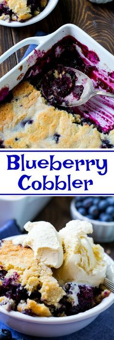 Blueberry Cobbler has a layer of fresh blueberries covered in a cake-like cobbler topping. Serve with a scoop of ice cream for a delicious summer dessert. Summer Desserts, Easy Desserts, Delicious Desserts, Dessert Recipes, Yummy Food, Fruit Dessert, Summer Treats, Summer Recipes, Easy Blueberry Cobbler