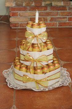 Kifli és levendula: Sörtorta Ideas Para Fiestas, Birthday Cake, Birthday Ideas, Presents, Gift Wrapping, Candy, Creative, Desserts, Recipes