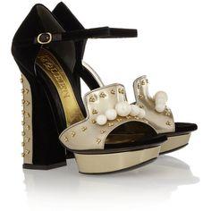 Alexander McQueen Embellished velvet and metallic leather sandals (2.295 BRL) ❤ liked on Polyvore featuring shoes, sandals, heels, alexander mcqueen, black, high heels, black high heel sandals, black leather sandals, platform heel sandals and heeled sandals