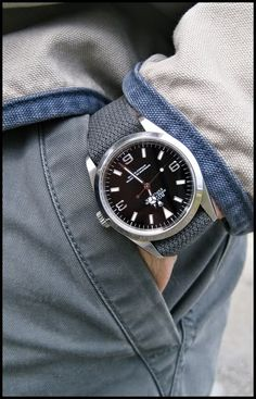 Rolex Explorer on a NATO strap for a sophisticated look. The Blue looks Sharp!