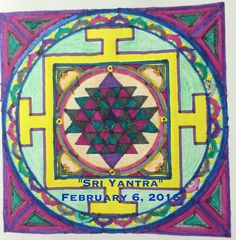 """#28 ~ Feb. 6, 2016 ~ """"Sri Yantra"""" from """"The Mindful Mandala Colouring Book"""" by Lisa Tenzin-Dolma.  Coloured with Crayola markers and Crayola crayons."""