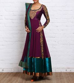 Aubergine Georgette & Velvet Anarkali with Gota Patti