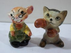 Vintage Cat Mouse Salt Pepper Shaker Ceramic Old 2.75""