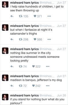 Misheard Hamilton lyrics