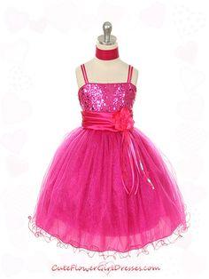 Fushia flower girl dress. My little ladies would love these!