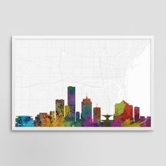 Milwaukee Wisconsin Cityscape and Street Map Watercolor Art Print Office or Home Wall Decor