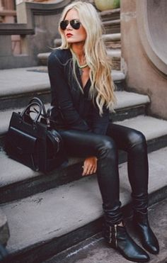 Black on Black | Leather Skinnies and Pointed-Toe Boots #womensfashion #style