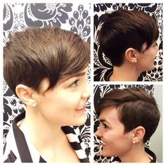 Sarah went from a pixie cut to a fun shorter cut with shaved sides and back. We love the hard part that creates little more drama! Cut by Andrea. Hard Part, Shaved Sides, Short Cuts, Pixie Cut, Shaving, Salons, Hair Cuts, My Style, Instagram Posts
