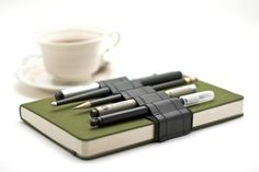 Journal Bandolier // reclaimed rubber // (a better pencil case, journal pen holder, book strap, pen loop, pencil roll, pen bandolier)