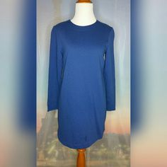 """BLUE TUNIC TOP Size Small. Blue. Long sleeve. Zipper closure. Crew neck. Excellent condition except for small stain on the bottom (see picture). Length: 32"""". 100% Cotton. H&M Tops Tunics"""