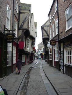 "york - ""the shambles"" is one of the oldest streets and has 15th century buildings that are almost touching together at the top floors"