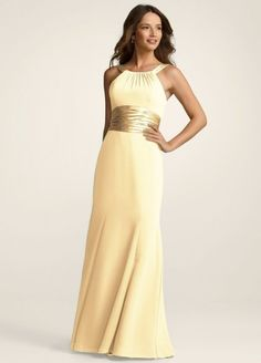 8628aeb06a7 This long chiffon and charmeuse combination dress is a flattering look for  all body types. The high neck is a sophisticated look that pairs nicely  with the ...