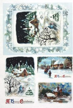 Rice paper / Decoupage paper, Scrapbook Sheet Old Pictures Happy Christmas