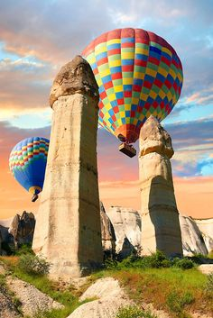 Hot Air Balloons over Cappadocia Turkey (I can't help but see 'the phallus' and 'the breast'. Must be the art historian in me.)