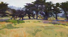 Marcia Burtt  Windbreak  acrylic 10×18 in.