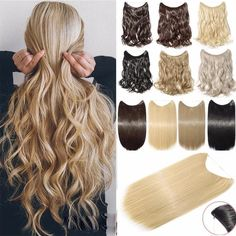 Hair Extensions Invisible Wire No Clips in Full Head Hair Extension Secret Fish Line Hairpieces Real Natural Human Made Synthetic Hair for Women Lady(ash blonde mix bleach blonde) Clip In Extensions, Invisible Hair Extensions, Wavy Hair Extensions, Synthetic Hair Extensions, Hair Extensions Before And After, Halo Hair, Haircuts For Fine Hair, Hair Flip, Piercings