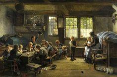 """The Village School"". Wilhelm Ludwig Heinrich Claudius (1854 – 1942), German painter."