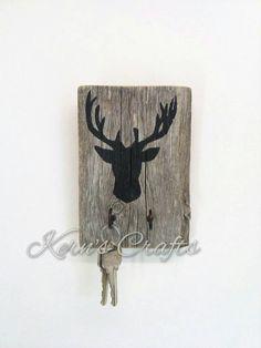 Deer Key Rack  Rustic Deer Silhouette Key Rack  by KernsCrafts