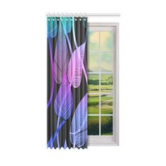 Bold leaf pattern in hues of warm tropical colors. Tropical Colors, Tropical Leaves, Steel Curtain, Dust Collection, Window Curtains, Decor Styles, One Piece, Windows, Colorful