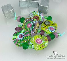 Handmade lampwork beads  freeformed  F r e s h   by calypsosbeads, $83.00