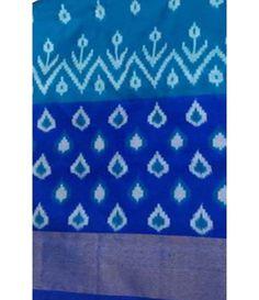 Blue Handloom Ikat Silk Saree