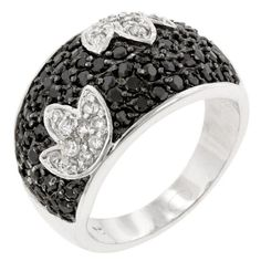 This black and white ring is perfect for cocktail parties.  Genuine Rhodium Plating is achieved using an electroplating process that coats the item with heavy layers of rhodium a close cousin to platinum which gives our jewelry a platinum luster.Base Metal: Lead Free Alloy (Brass)Style: , Setting Type: PaveMaterials: , Stone Cut: RoundCarat Weight: .8 (ct)Color: , Plating Color: Silvertone | Black FinishRing Band Width: 4.3 mmBracelet Size: 21 mm L x 14 mm W x 3 mm HStone Size: 1.6 mmType…