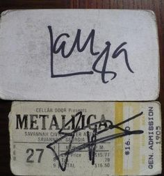 "from ebay user ~    Metallica 1989 autographed ticket stub and business card.  I met Lars, James and Kirk after the show by the tour bus and all I had with me for them to autograph was the ticket stub and a ""Lowcountry Music"" Business card in my wallet. This was in 1989. Luckily they had the sharpie. No idea where Jason was.  These have been in tin container since and with me for the last 20+ years. Awesome for a hardcore collector. Decided to let it go."