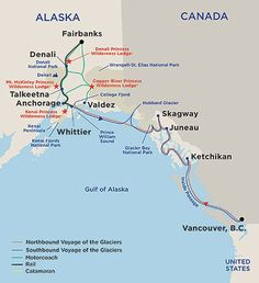 Alaska Connoisseur and Off The Beaten Path Cruisetour Map –  refer to the page below and the Cruise Details page for a list of port names