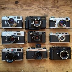 """My entire interchangeable lens rangefinder collection: Leica M3 with 50mm 1.5 Summarit Leica M5 with 50mm 2.0 Summicron Leica M7 with 90mm 2.8 Elmarit-M…"""
