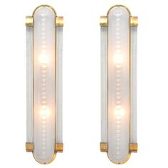 Vintage Pair of Murano Glass and Brass Sconces