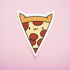 Pizza Cat  Hand Cut Sticker by thepinksamurai on Etsy