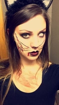 Halloween zombie cat makeup