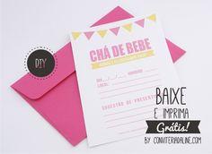 Convites Grátis para Imprimir - Chá de Bebê  Baixe aqui: http://blog.conviteriadaline.com.br/2014/11/convites-gratis-para-imprimir-cha-de.html?spref=pi ♥♥♥