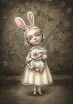 Can I get this marvelous piece of art as a tattoo? I'm in love with the little blonde girl and her bunny ears, holding her bunny ♥ (probably cause I'm blonde and I love bunnies, LOL)