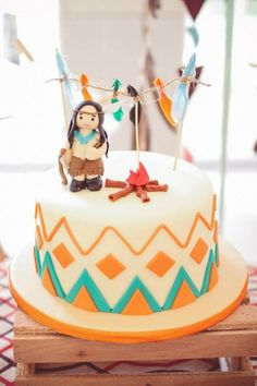 Indian Princess themed birthday party via Kara's Party Ideas KarasPartyIdeas.com Cake, decor, bunting, banners, printables, desserts, tutorials, games, and more! #indian #aztec #indianprincess #littleindian #powwow #indianparty (11)