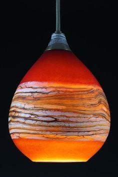 Katz Glass Design | Tangerine & Lime Strata Pendant Lighting Handblown glass lighting