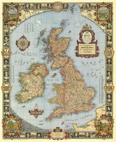 Great Britain – A Modern Pilgrim's Map (1937) home wall art decor canvas art poster prints giclee retro vintage decoration maps