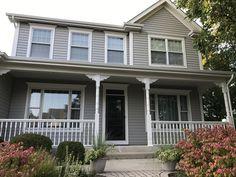 House Exterior Color Schemes, Exterior Gray Paint, Grey Siding, Exterior Paint Colors For House, Grey Paint, Exterior Colors, Colonial Exterior, Exterior Trim, Blue Roof