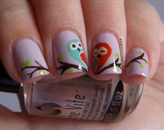 Owl Love Valentines Day nail polish manicure by The Polish Well Owl Nail Art, Bird Nail Art, Owl Nails, Minion Nails, Owl Art, Cute Nails, Pretty Nails, Pretty Toes, Fancy Nails