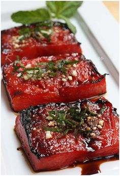watermelon steak -- really unique idea, it'd be great with the balsamic and maybe rosemary or thyme