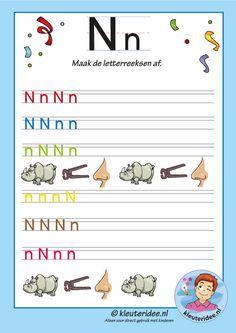 Pakket over de letter n blad 14, maak de letterreeksen af, kleuteridee, free printable