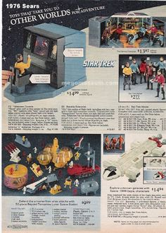 Mego Star Trek and Mattel Space 1999 were highly profitable toys in 1976 Star Trek 8, Star Trek Toys, Star Trek Ships, 1970s Childhood, Childhood Toys, Sears Toys, Gi Joe, 1960s Toys, Toy Catalogs