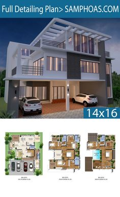 House Plan with 5 Bedrooms - Sam House Plans 4 Bedroom House Designs, 5 Bedroom House Plans, 3d House Plans, Model House Plan, Duplex House Plans, Simple House Design, Bungalow House Design, House Front Design, House Blueprints