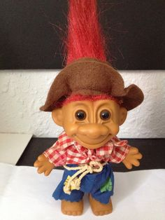 """Vintage Russ 5"""" Farmer Troll Doll...just bought this today at a flea market only mine still has the pipe attached he is soo cute"""