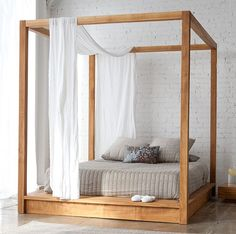 Mash Studios PCH Canopy Bed - King - House&Hold (attach to platform bed frame) Queen Canopy Bed, Canopy Bed Frame, Queen Beds, Diy Canopy, Canopy Bedroom, Backyard Canopy, Fabric Canopy, Canopy Tent, Wood Canopy Bed