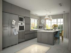 Sneak peek into new project! Family house #synthesisquatro # interiordesign #kitchen #grey #design