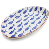 Sur La Table - blue fish terra cotta oval serving platter