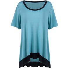 $15.53 Plus Size High Low Hem Ringer T-Shirt - Blue And Black