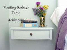 Convert a bedside table into a floating nightstand!