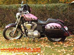 Harley Davidson with pink flames. Harley Bikes, Harley Davidson Motorcycles, Custom Motorcycles, Hot Bikes, Biker Chick, My Ride, Cool Cars, Bike Stuff, Vroom Vroom